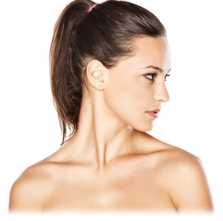 Woman posing for botox